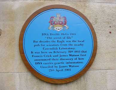 Plaque outside the Eagle on Bene't Street
