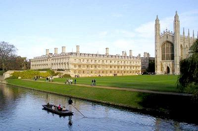 View from the Backs to Clare College and King's Chapel with a punt in the foreground.