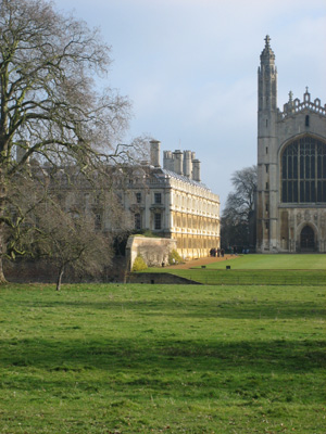 Clare seen from over the river, Kings College chapel to the right